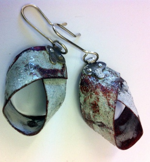 Enamel and silver earrings available from Fingers Gallery Auckland