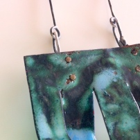 Enamel copper and silver neckpiece