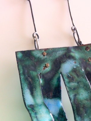 Enamel copper and silver neckpiece