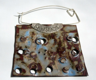 Enamel copper and silver pin