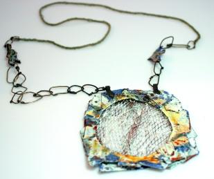 Enamel,copper,silver,handmade cord