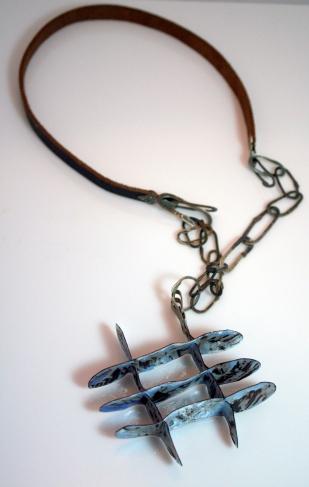 Enamel,copper, silver, leather neckware