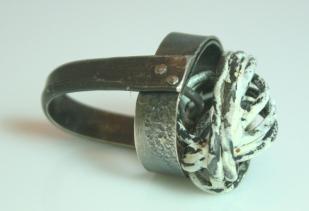 Silver,enamel,steel fingerware